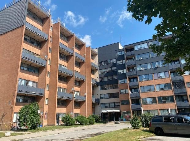 Dozens of Mississauga residents were evacuated on Saturday night after a severe thunderstorm flooded this building. (Darek Zdzienicki/CBC News - image credit)