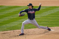 Atlanta Braves' Max Fried pitches during the fourth inning of an opening day baseball game against the Philadelphia Phillies, Thursday, April 1, 2021, in Philadelphia. (AP Photo/Matt Slocum)