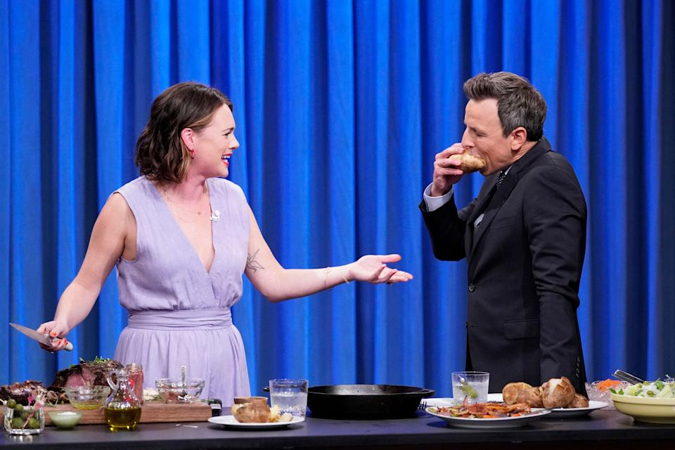 Alison Roman during a cooking segment with late night host Seth Meyers on Oct. 22, 2019. (Photo: NBC via Getty Images)