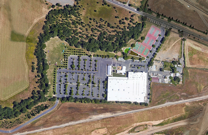 A 2019 aerial image shows the Bethany Slavic Missionary Church complex at 9880 Jackson Rd. in Sacramento County.