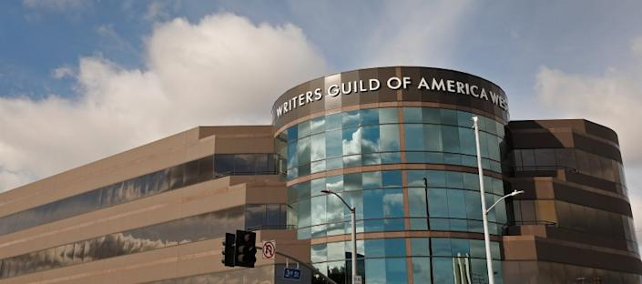 "The headquarters of the Writers Guild of America West in the Fairfax area of Los Angeles. <span class=""copyright"">(Al Seib / Los Angeles Times)</span>"