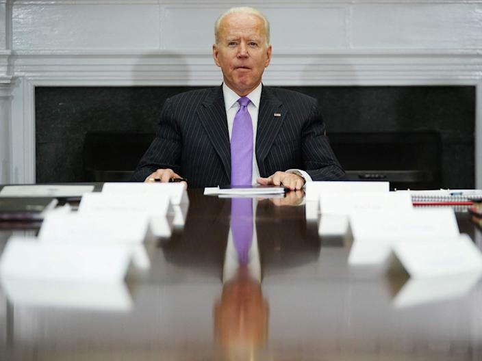 Joe Biden heads a meeting in the White House on Tuesday (AFP via Getty)