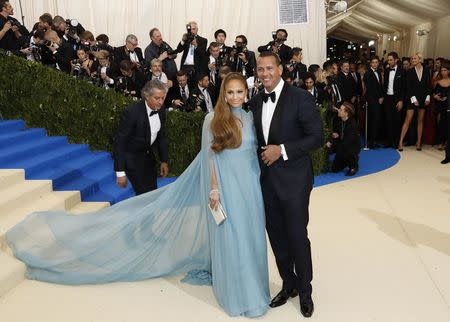 Metropolitan Museum of Art Costume Institute Gala - Rei Kawakubo/Comme des Garcons: Art of the In-Between - Arrivals - New York City, U.S. - 01/05/17 - Jennifer Lopez and Alex Rodriguez. REUTERS/Lucas Jackson
