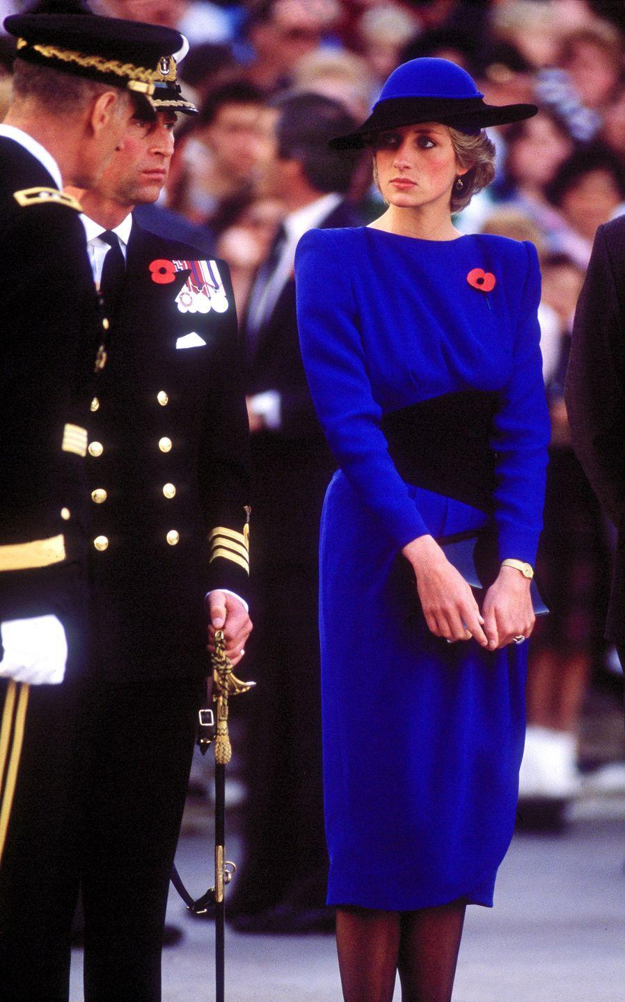 <p>At Arlington Cemetery, 1985. Wearing Bruce Oldfield.</p>