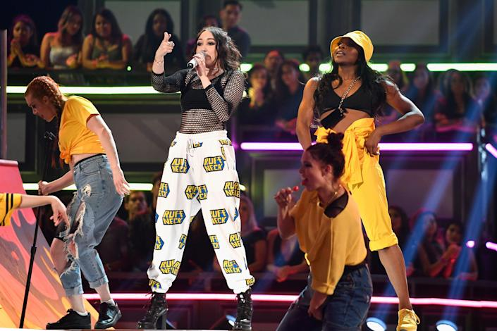 Noah Cyrus performs onstage at the 2017 MTV Movie And TV Awards at The Shrine Auditorium on May 7, 2017 in Los Angeles, California.