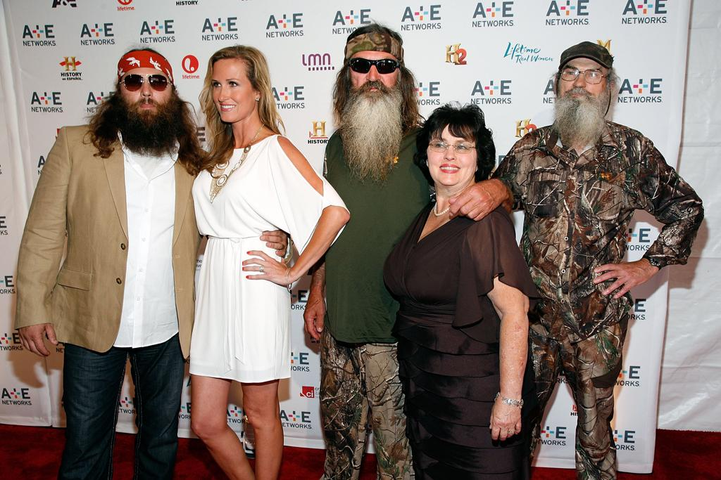 "Willie Robertson, Korie Robertson, Phil Robertson, Miss Kay Robertson, and Si Robertson (A&E's ""Duck Dynasty"") attend the A&E Networks 2012 Upfront at Lincoln Center on May 9, 2012 in New York City."
