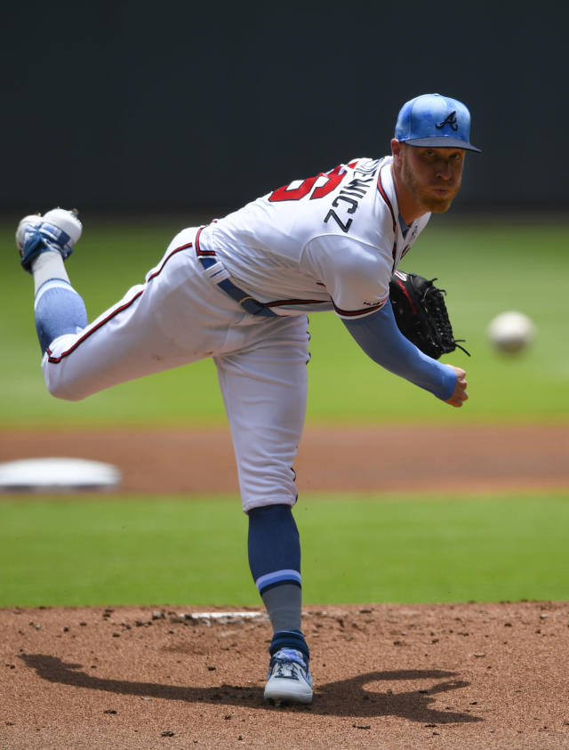 Atlanta Braves' Mike Foltynewicz pitches against the Philadelphia Phillies during the first inning of a baseball game Sunday, June 16, 2019, in Atlanta. (AP Photo/John Amis)