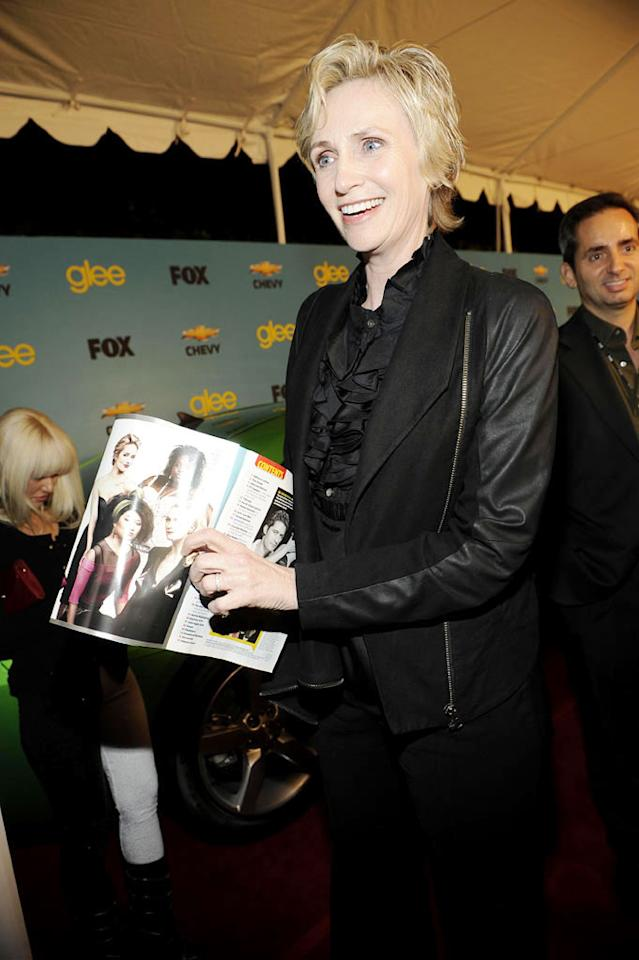 "<a href=""/jane-lynch/contributor/660460"">Jane Lynch</a> (""Sue Sylvester"") arrives at Fox's <a href=""/glee/show/44113"">""Glee""</a> Spring Premiere Soiree at Chateau Marmont on April 12, 2010 in Los Angeles, California."