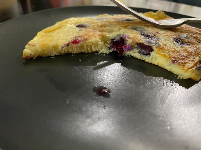 The pancake was tangy and lemony, but the blueberries weren't soft enough for my taste.