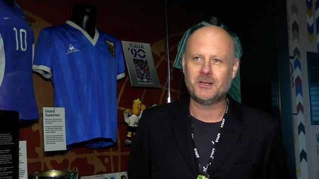 National Football Museum spokesperson Dickie Felton with the shirt Diego Maradona wore when he played England in 1986
