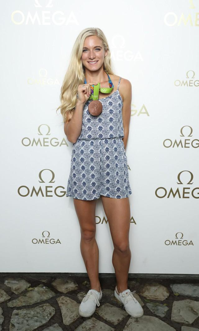 <p>Emma Coburn pictured at Swimming Legends night at OMEGA House Rio 2016 on August 15, 2016 in Rio de Janeiro, Brazil. (Photo by Mike Marsland/Mike Marsland/WireImage) </p>