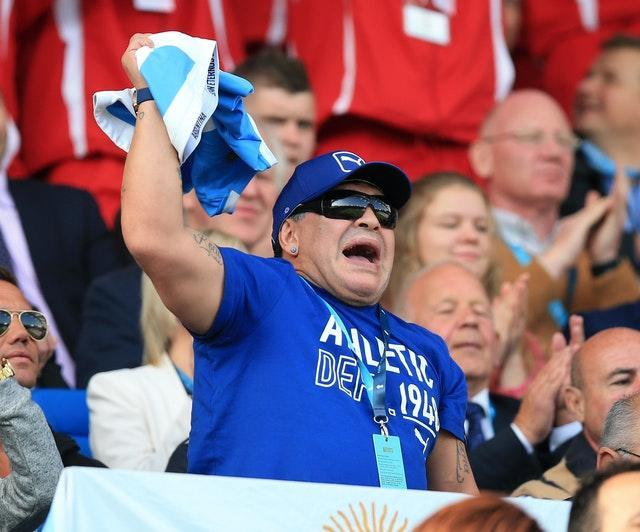 Maradona played the role of Argentina fan at the 2015 Rugby World Cup in England