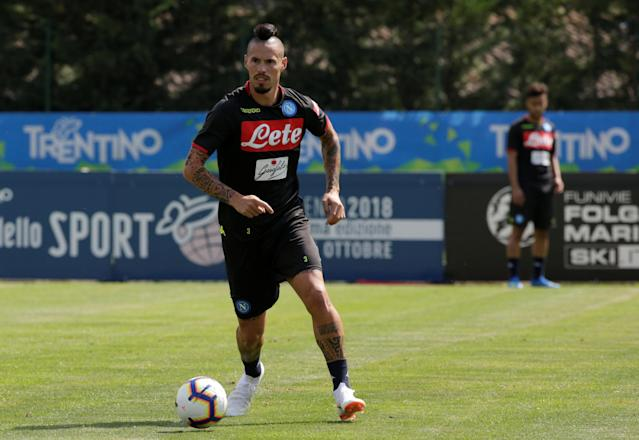 Napoli's Marek Hamsik in action during a training session in Dimaro, northern Italy July 11, 2018. REUTERS/Ciro De Luca