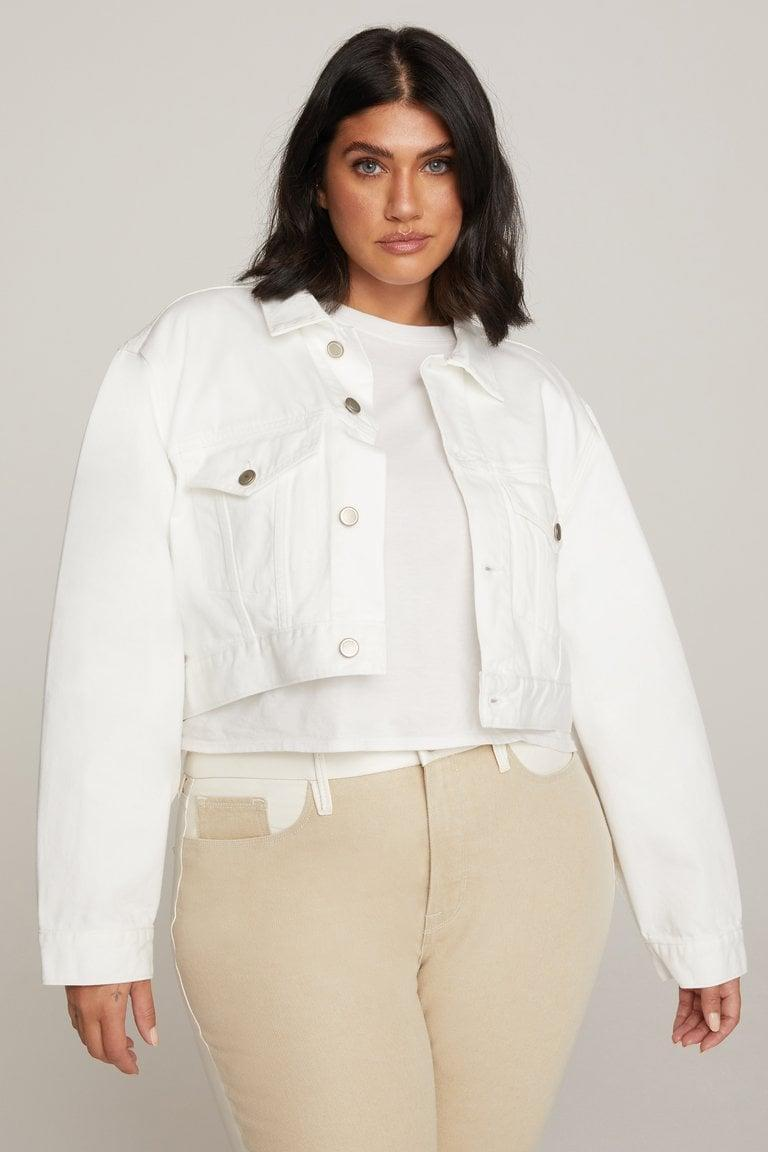 <p>We love this fresh, comfortabe <span>Good American Cropped and Classic Jacket</span> ($149).</p>