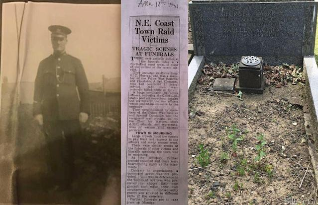 A hunt for the family of Constable George C.Murray has been launched alongside a fundraiser to mark the grave of Constable Mornington Alfred Clements (L).(NORTHUMBRIA POLICE)