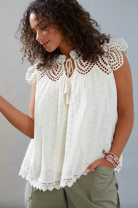 Charlize Eyelet Lace Blouse. Image via Anthropologie.