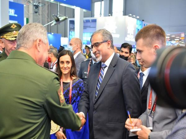 Russian Defence Minister Sergey Shoigu with Indian Ambassador to Russia Venkatesh Varma. (Photo credit: India in Russia twitter)
