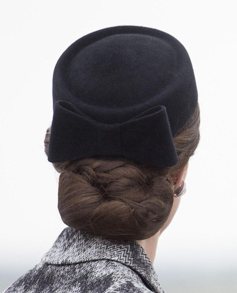 <p>Despite all odds, Kate makes a pretty convincing case for the hairnet. She often wears them when her hair is styled in more intricate updos—that way, she doesn't have any rogue fly-aways. </p>