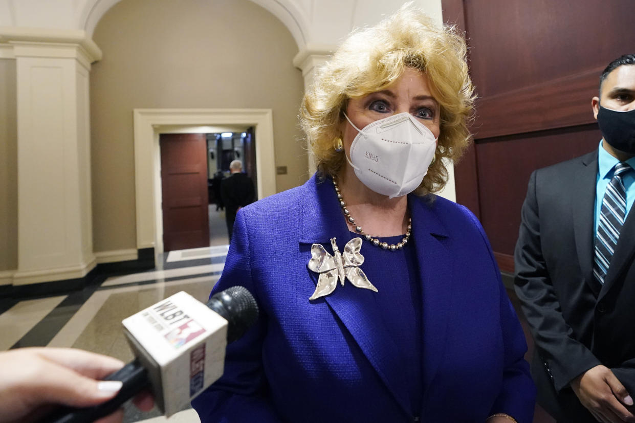 Madison Mayor Mary Hawkins Butler reacts after attending arguments before the Mississippi Supreme Court on her lawsuit that challenges the state's initiative process and seeks to overturn a medical marijuana initiative that voters approved in November 2020, on April 14, 2021 in Jackson, Miss. (Rogelio V. Solis/AP)
