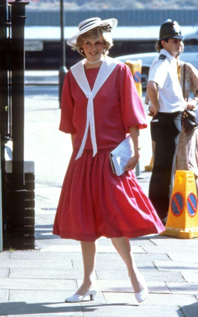 <p>But once she did become the Princess of Wales, Diana found that her taste for maritime-inspired looks served her well for her life as a royal. She wore this pink number to her old roommate Carolyn Pride's wedding in 1982.<br></p>