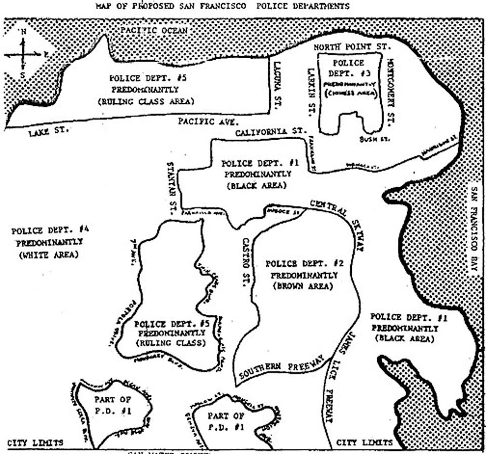 Black-and-white drawing of San Francisco with designated districts around certain neighborhoods