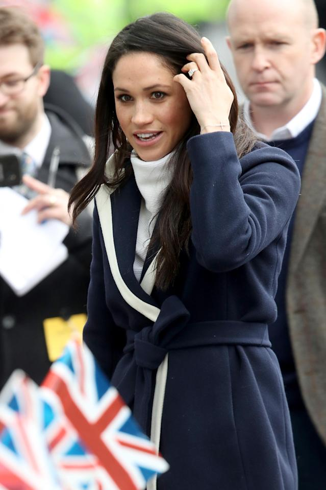 Meghan Markle's latest look included an oversized white turtleneck. (Photo: Chris Jackson/Getty Images)