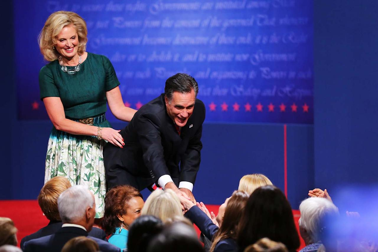 BOCA RATON, FL - OCTOBER 22:  Republican presidential candidate Mitt Romney with wife, Ann Romney greet people on stage after the debate at the Keith C. and Elaine Johnson Wold Performing Arts Center at Lynn University on October 22, 2012 in Boca Raton, Florida. The focus for the final presidential debate before Election Day on November 6 is foreign policy.  (Photo by Joe Raedle/Getty Images)