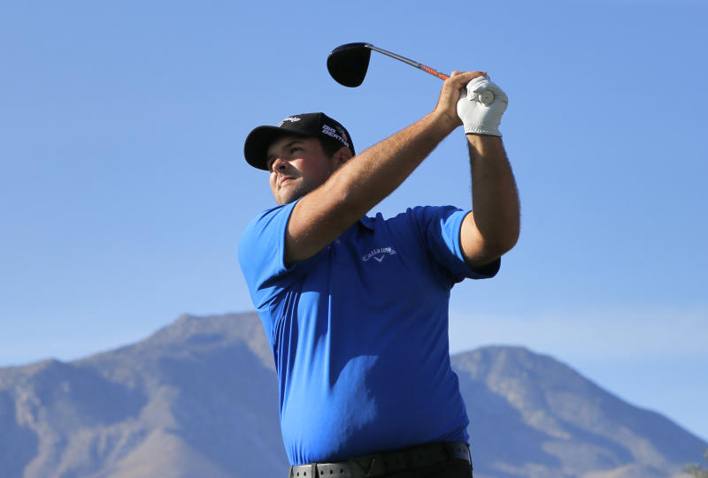 Patrick Reed hits from the 13th tee during the third round of the Humana Challenge PGA golf tournament on the Nicklaus Private course at PGA West, Saturday, Jan. 18, 2014, in La Quinta, Calif. (AP Photo/Matt York)