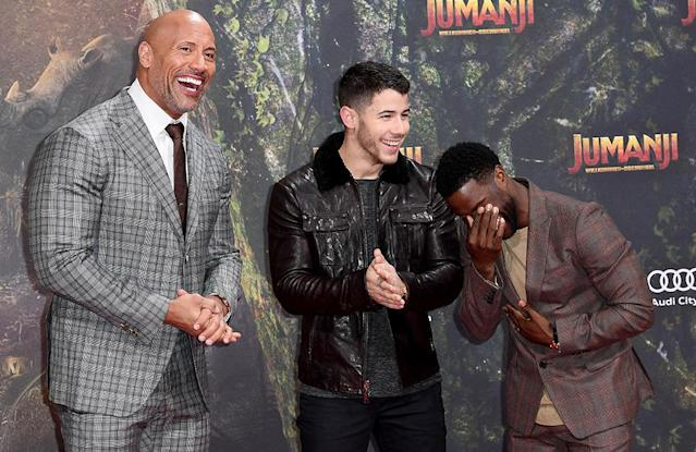 <p>Has anyone ever had more fun on a press tour than these guys? The stylish trio could barely keep it together on the red carpet, as they arrived for the German premiere of <em>Jumanji</em> on Wednesday in Berlin. (Photo: Matthias Nareyek/Getty Images for Sony Pictures) </p>