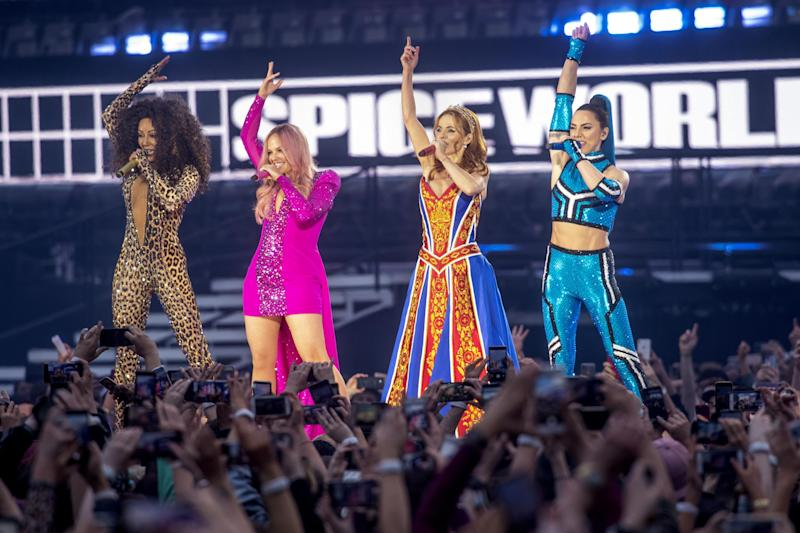 Reunion: Four out of five Spice Girls reunited for the stadium tour (Dave J Hogan/Getty Images)