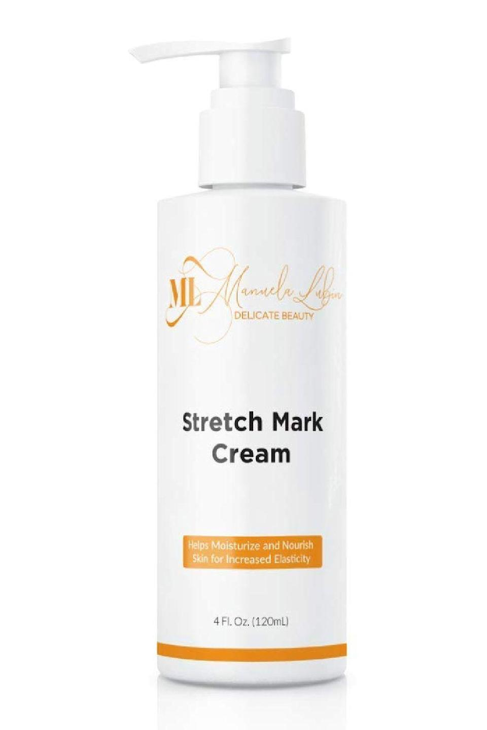 """<p><strong>ML MANUELA LUBIN DELICATE BEAUTY</strong></p><p>amazon.com</p><p><strong>$25.99</strong></p><p><a href=""""https://www.amazon.com/dp/B07NGP5RGS?tag=syn-yahoo-20&ascsubtag=%5Bartid%7C10049.g.23323942%5Bsrc%7Cyahoo-us"""" rel=""""nofollow noopener"""" target=""""_blank"""" data-ylk=""""slk:Shop Now"""" class=""""link rapid-noclick-resp"""">Shop Now</a></p><p>This cream contains two of the three ingredients Dr. Rabach recommends for minimizing the appearance of stretch marks: <a href=""""https://www.cosmopolitan.com/style-beauty/beauty/g28948492/best-hyaluronic-acid-serum/"""" rel=""""nofollow noopener"""" target=""""_blank"""" data-ylk=""""slk:hyaluronic acid"""" class=""""link rapid-noclick-resp"""">hyaluronic acid</a> and silicones. Together, these ingredients, along with other humectants and moisturizers (like panthenol, glycerin, and squalane) <strong>help to smooth, plump, and improve the feel of stretch marks</strong>.</p>"""