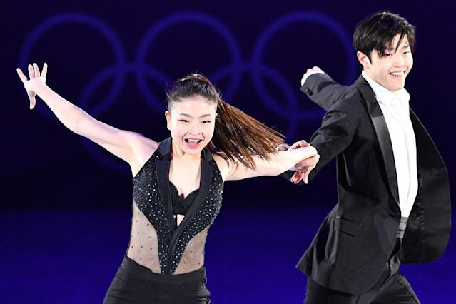 <p>USA's Maia Shibutani and USA's Alex Shibutani perform during the figure skating gala event during the Pyeongchang 2018 Winter Olympic Games at the Gangneung Oval in Gangneung on February 25, 2018. / AFP PHOTO / Mladen ANTONOV (Photo credit should read MLADEN ANTONOV/AFP/Getty Images) </p>