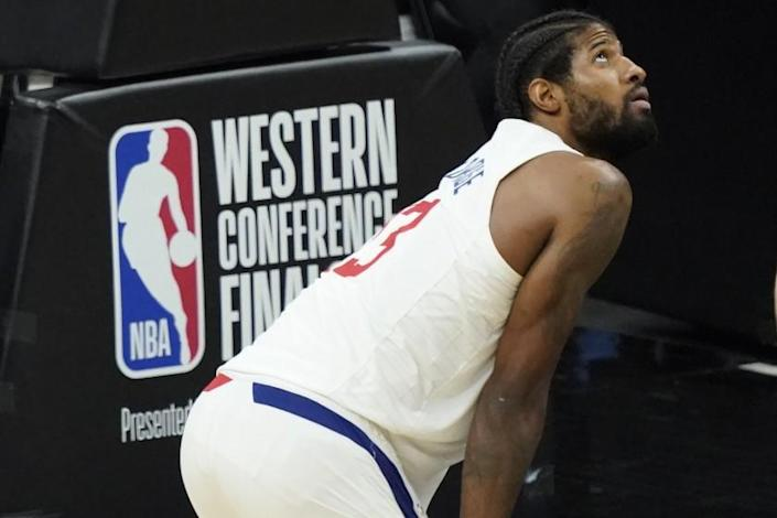 Los Angeles Clippers guard Paul George (13) during the second half of game 5 of the NBA basketball Western Conference Finals against the Phoenix Suns, Monday, June 28, 2021, in Phoenix. (AP Photo/Matt York)