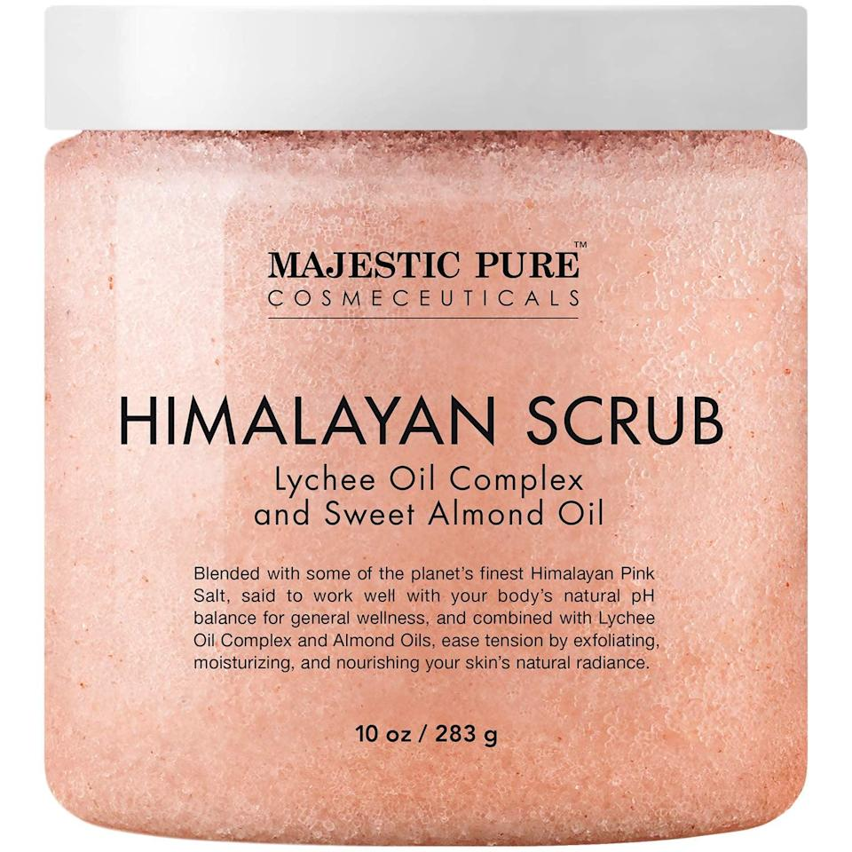 <p>Get rid of dead skin with the <span>Majestic Pure Himalayan Salt Body Scrub with Lychee Oil</span> ($15).</p>