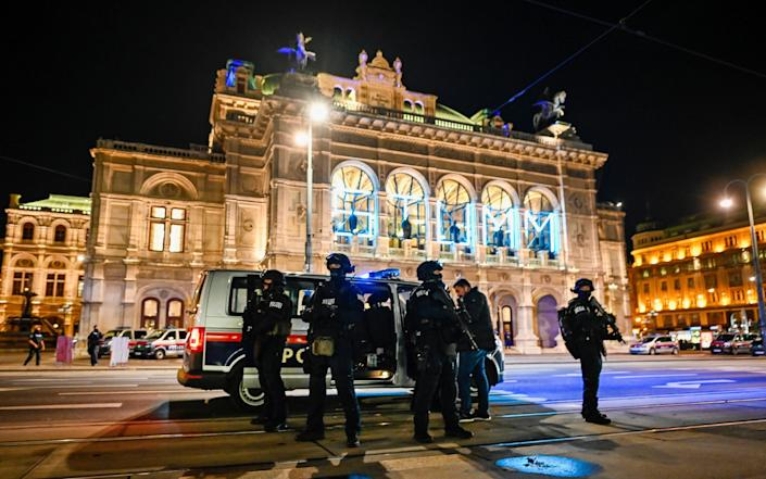 Heavily armed police stand outside the Vienna State Opera - Michael Gruber/Getty Images