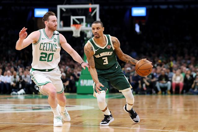 """<a class=""""link rapid-noclick-resp"""" href=""""/nba/players/4488/"""" data-ylk=""""slk:George Hill"""">George Hill</a> is staying with the Bucks on a 3-year deal. (Photo by Maddie Meyer/Getty Images)"""