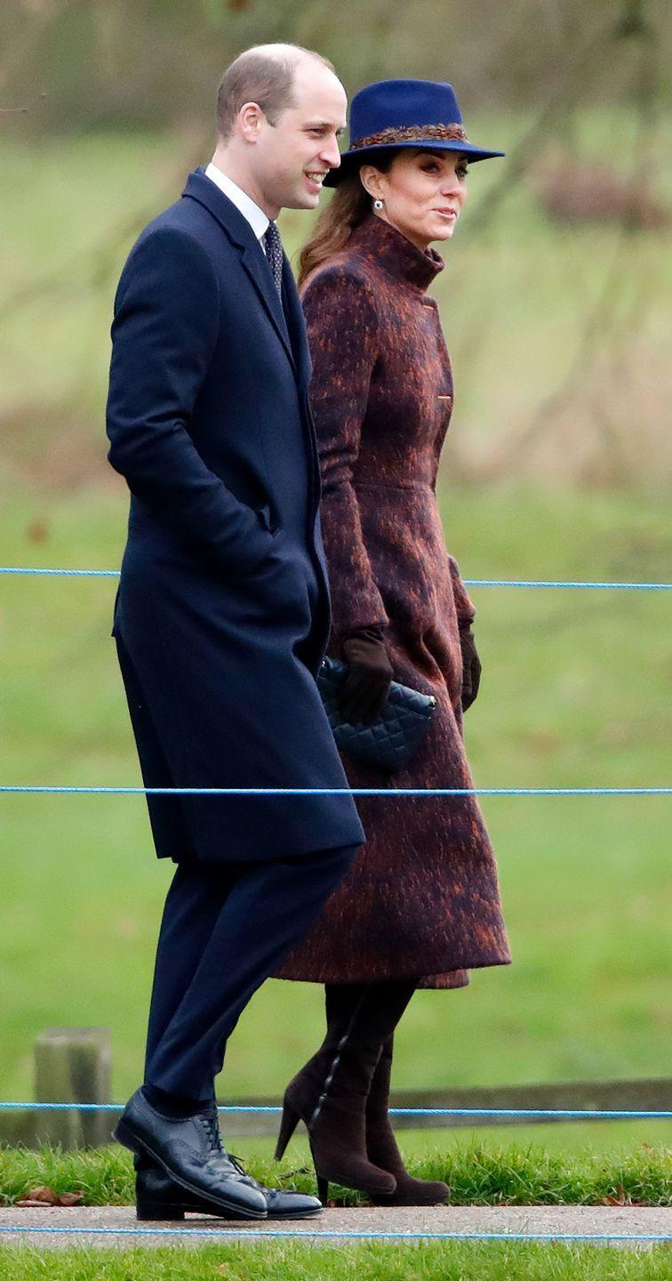 <p>The Duchess of Cambridge wore a bold blue fedora to church in Sandringham with Prince William.</p>