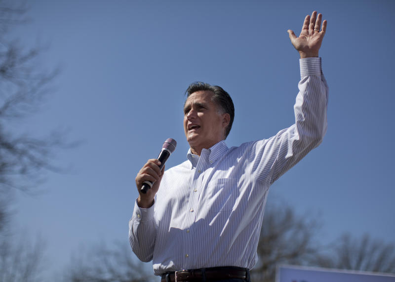 Republican presidential candidate, former Massachusetts Gov. Mitt Romney speaks during a campaign stop in St. Louis, Mo., Tuesday, March 13, 2012.  (AP Photo/Evan Vucci)