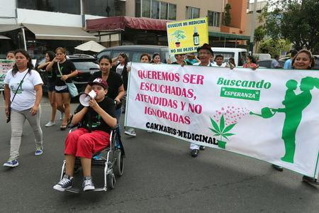 "Anthony and his mother Ana Alvarez lead a protest in favour of the legalization of medical marijuana outside the Interior Ministry in Lima, Peru March 1, 2017. The banner reads: ""We want to be heard, answered and not ignored. Legalize our medicine."" REUTERS/Guadalupe Pardo"