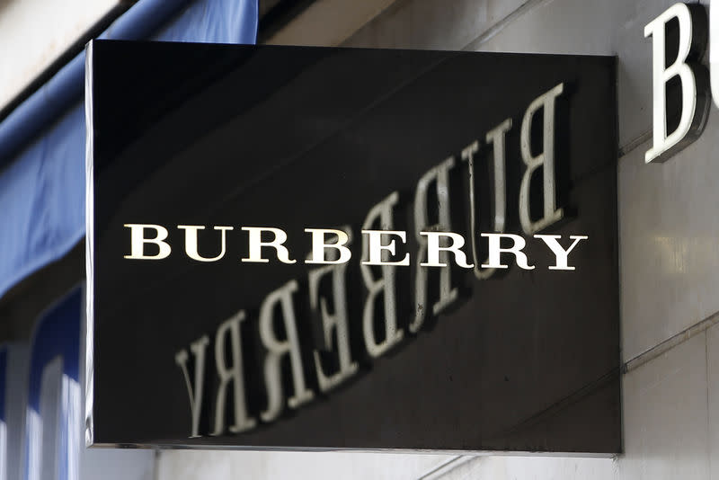 The logo of Burberry outlet store is seen in Paris