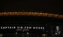 Wembley Stadium is illuminated in commemoration of Captain Sir Tom Moore
