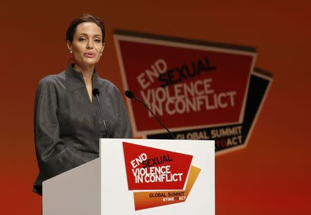 Actress and campaigner Angelina Jolie speaks at a summit to end sexual violence in conflict, in London