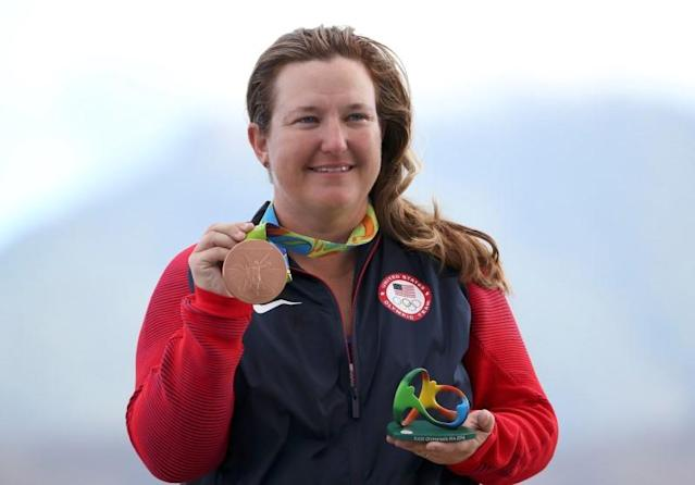 Kim Rhode won a medal for the sixth straight Olympics. (Reuters)