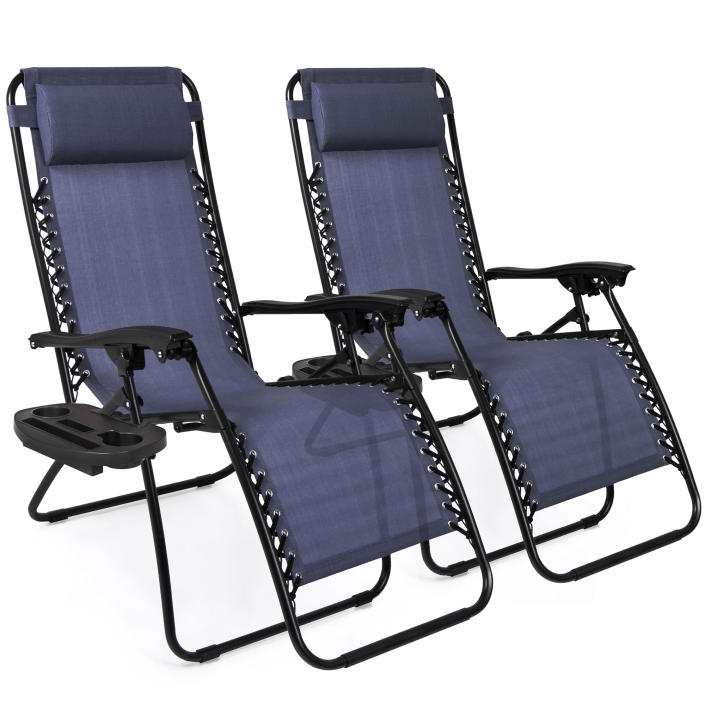 Best Choice Products Set of 2 Adjustable Zero Gravity Lounge Chair Recliners for Patio, Pool w/ Cup Holders - Blue (Walmart / Walmart)