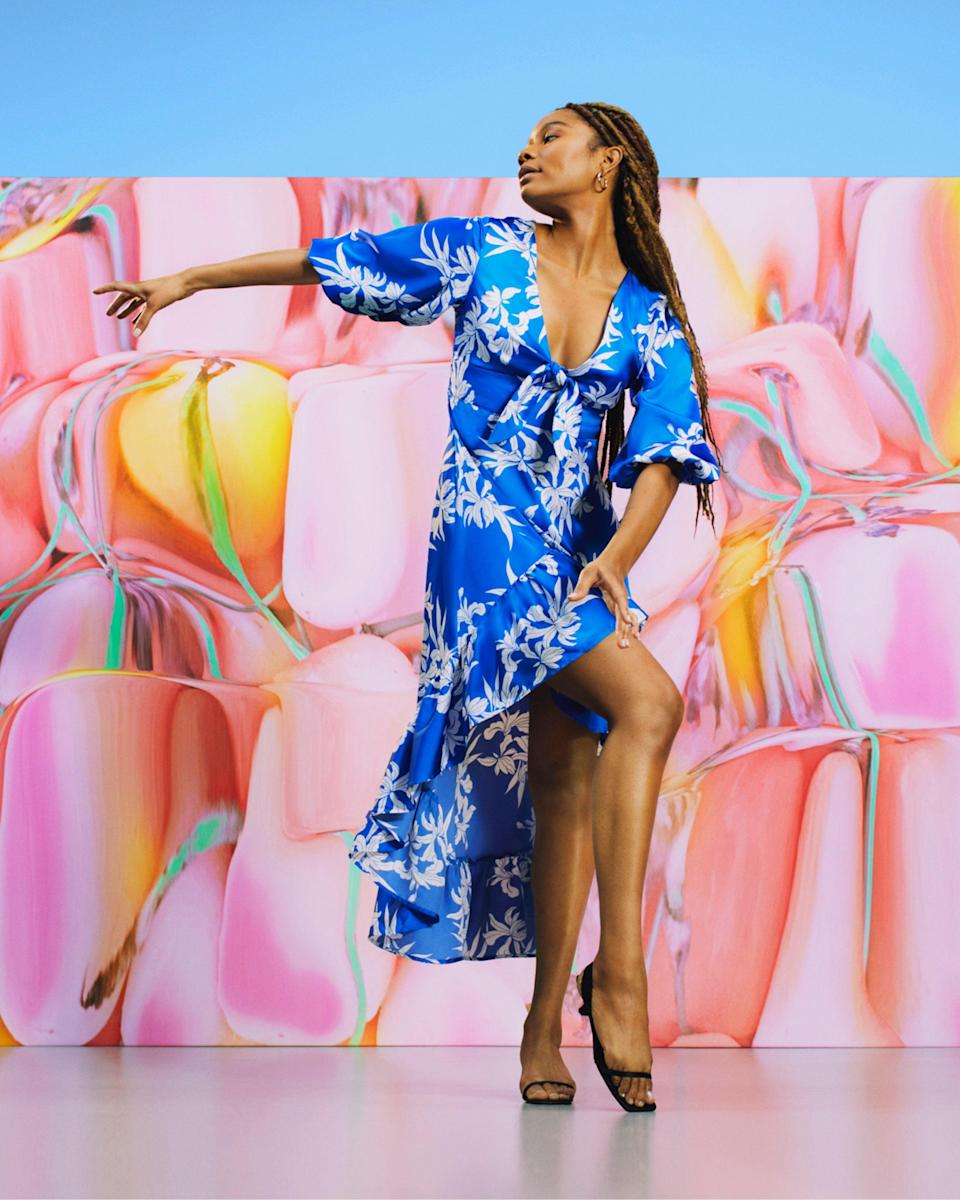 """<strong>ALEXIS x Target</strong><br><br><strong>ALEXIS x Target</strong> Floral Tie-Front High-Low Dress, $, available at <a href=""""https://go.skimresources.com/?id=30283X879131&url=https%3A%2F%2Fgoto.target.com%2FZd6gzz"""" rel=""""nofollow noopener"""" target=""""_blank"""" data-ylk=""""slk:Target"""" class=""""link rapid-noclick-resp"""">Target</a>"""