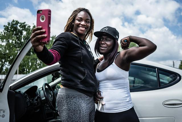 <p>Claressa Shields, 20, takes a goodbye selfie with her young sister Briana, 18. Claressa is moving from her hometown to Colorado, the first time she has ever lived outside of Flint, Mich., June 2015. (Photograph by Zackary Canepari) </p>