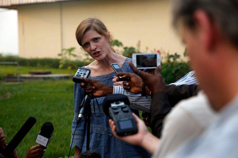 US Ambassador to the United Nations Samantha Power answers reporters questions at the airport in Bangui, Central African Republic, Thursday Dec. 19, 2013. Power is on a one day trip to the war stricken region. (AP Photo/Jerome Delay)