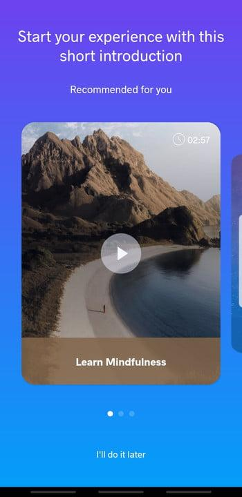 Screenshot of Meditopia app showing an intro to Mindfulness video and a picture of a jogger on a road passing through mountains