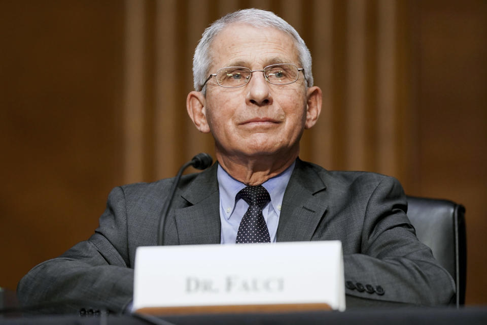 Dr. Anthony Fauci, director of the National Institute of Allergy and Infectious Diseases, testifies during a Senate Health, Education, Labor, and Pensions hearing to examine an update from Federal officials on efforts to combat COVID-19, Tuesday, May 11, 2021 on Capitol Hill in Washington. (Jim Lo Scalzo/Pool via AP)