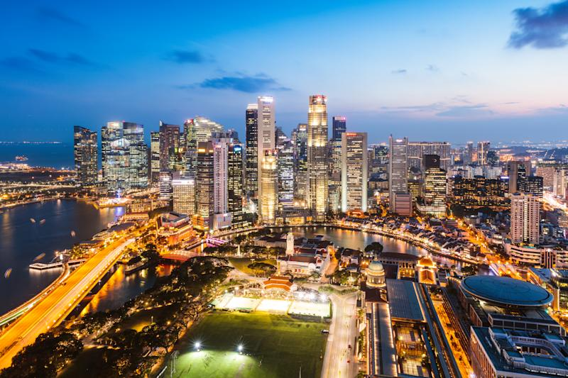 Elevated view of business district at sunset, Singapore